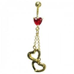 Piercing para Umbigo – Algemas de Corações Banhado a Ouro – 1DOU138