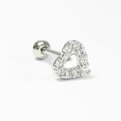Piercing para Orelha com Lindo Coração - 6ORE353