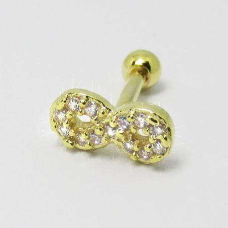 Piercing Dourado para Orelha com Lindo Símbolo do Infinito com Cristais - 6ORE362