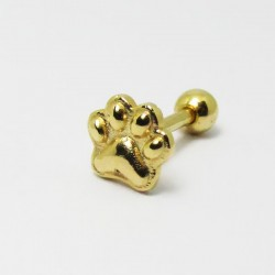 Piercing Banhado a Ouro para Orelha com Patinha - 6ORE363