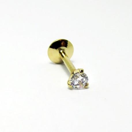 Piercing Banhado a Ouro para Tragus Labret Ponto de Luz de Zircônia - 7TRG40