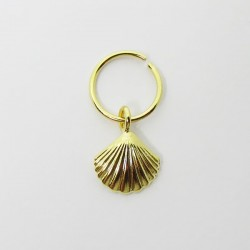 Piercing de Orelha Banhado a Ouro - Argolinha Sereia Concha - 6ORE367