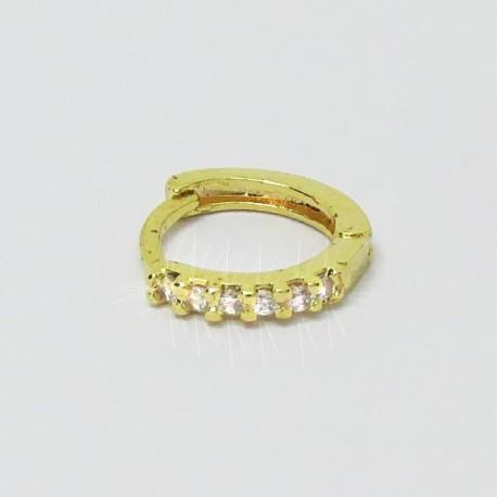 Piercing de Orelha de Argolinha Dourada com Cristais - 6ORE369