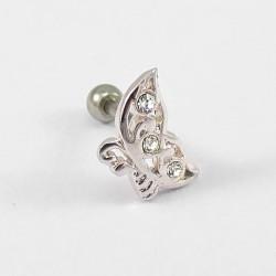 Piercing para Orelha em Forma de Borboleta com Cristais- 6ORE380