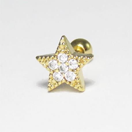 Piercing de Orelha com Estrela Dourado - 6ORE384