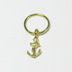 Piercing de Orelha Banhado a Ouro - Argolinha Âncora - 6ORE388