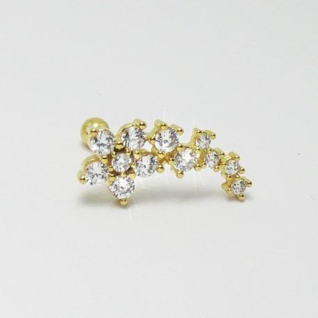 Piercing para Orelha Cluster Divino com Zircônias - Banhado a Ouro - 6ORE392