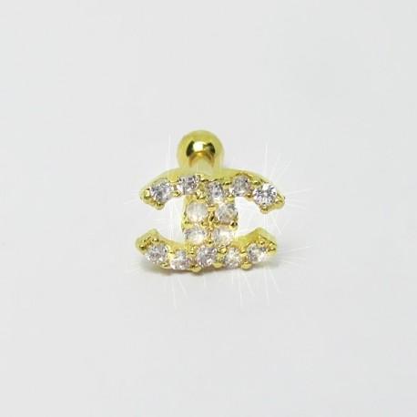Piercing de Orelha com Logo Dourado - 6ORE396