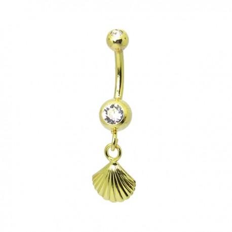 Piercing de Umbigo Dourado - Haste Menor - Sereísmo Concha -1PEQ58
