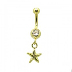 Piercing de Umbigo Dourado - Haste Menor - Sereísmo Estrela do Mar - 1PEQ59