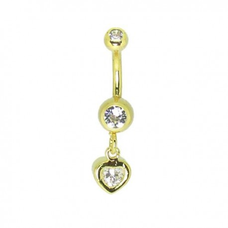 Piercing de Umbigo Dourado - Haste Menor - Coração com Cristal - 1PEQ60