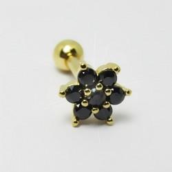 Piercing Dourado de Orelha com Florzinha com cristais Pretos - 6ORE416