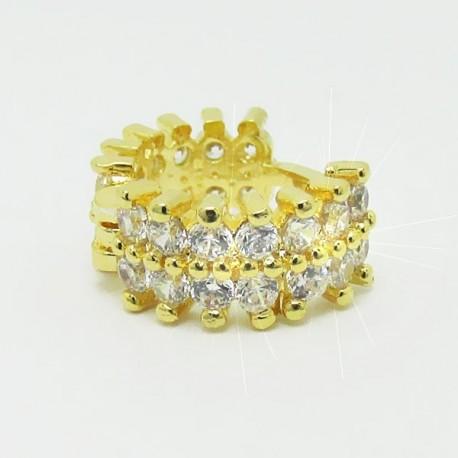 Piercing de Orelha - Argola Dupla de Zircônia - Banhado a Ouro - 6ORE421