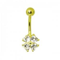 Piercing para Umbigo - Dourado – Trevo de 4 Folhas - 1DOU140
