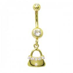 Piercing de Umbigo Dourado - Haste Menor - Bolsinha com Cristais - 1PEQ62