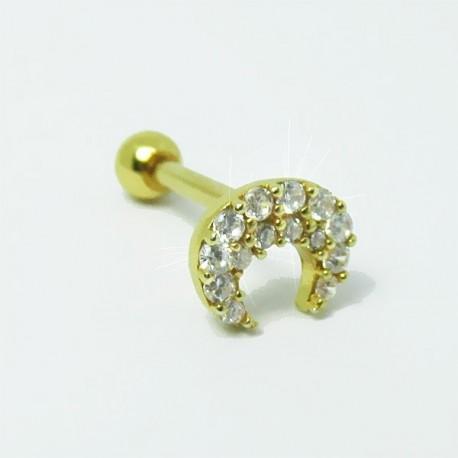 Piercing para Orelha - Hélix Dourado - Maravilhosa Lua com Cristais - Joia Blindada - 6ORE469