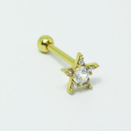 Piercing para Orelha - Helix Dourado - Maravilhosa Estrela com Cristais - Joia Blindada - 6ORE470