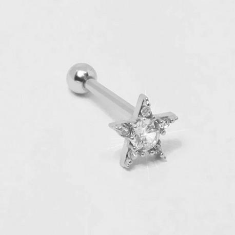 Piercing para Orelha - Helix - Maravilhosa Estrela com Cristais - Joia Blindada - 6ORE471