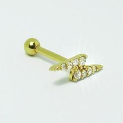 Piercing para Orelha - Helix Dourado - Maravilhosa Raio com Cristais - Joia Blindada - 6ORE473