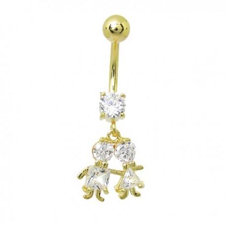 Piercing de Umbigo Dourado - Menino e Menina - 1DIV143