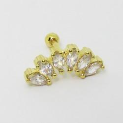Piercing Cluster Zircônia Dourado - 6ORE478