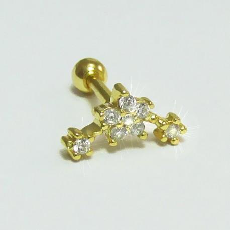 Piercing Dourado de Tragus Cluster Aço - Florzinha - 7TRG55
