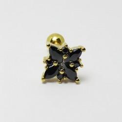 Piercing de Orelha Dourado com Pingente Divino em Zircônias Pretas - 6ORE487