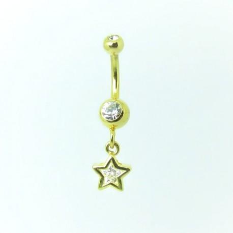 Piercing de Umbigo Dourado - Haste Menor - Estrela com Cristal - 1PEQ64