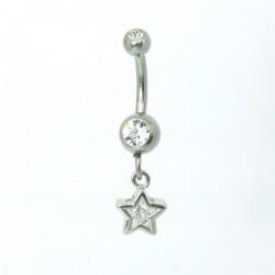 Piercing de Umbigo - Haste Menor - Estrela com Cristal - 1PEQ65