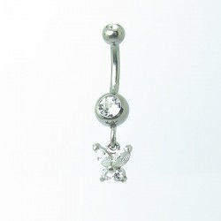 Piercing de Umbigo - Haste Menor - Borboleta com Cristal - 1PEQ67