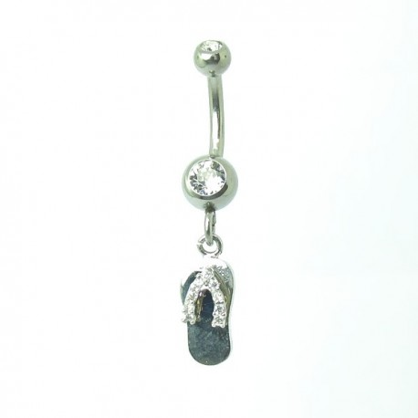 Piercing de Umbigo - Haste Menor - Chinelinho com Cristal - 1PEQ68