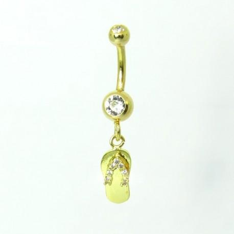 Piercing de Umbigo Dourado - Haste Menor - Chinelinho com Cristal - 1PEQ69