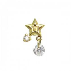 Piercing de Orelha com Estrela Dourado - 6ORE499
