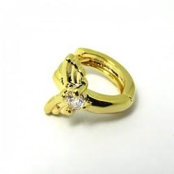Piercing de Orelha Banhado a Ouro - Argolinha com Asas - 6ORE500