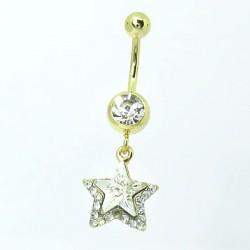 Piercings de Umbigo - Banhado a Ouro - Maravilhosa Estrela de Zircônia - 1EST67