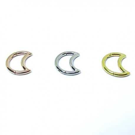 Piercing de Orelha - Meia Lua Clicker em Aço Cirúrgico - 6ORE510