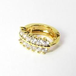 Piercing de Orelha Banhado a Ouro - Argolinha Cravejada de Zircônias - 6ORE513