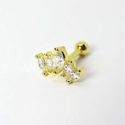 Piercing Cluster Dourado Princesa Zircônia - 6ORE516