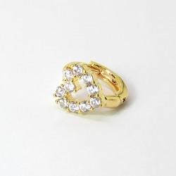 Piercing de Orelha Dourado - Argolinha com Lindo Coração - 6ORE518