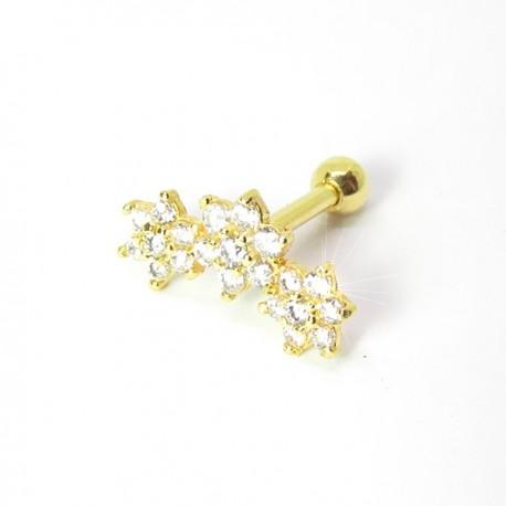 Piercing de Orelha Dourado - Cluster Divino com Zircônia - 6ORE519