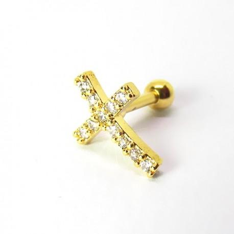 Piercing de Orelha Dourado - Crucifixo Divino com Zircônia - 6ORE527