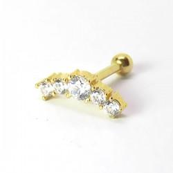Piercing de Orelha Dourado - Cluster Delicado com Zircônia - 6ORE529