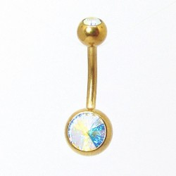 Piercings de Umbigo em Titânio PVD Gold - Pedra Rivoli - 1SIM106