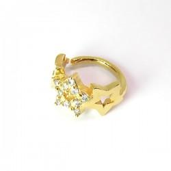 Piercing de Orelha Banhado a Ouro - Argolinha com Estrelas - 6ORE543