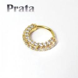 Piercing em Prata 950 - Hélix ou Daith Argolinha Dourada Toda Cravejada - 6ORE555