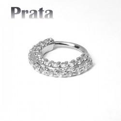 Piercing em Prata 950 - Hélix ou Daith Argolinha Toda Cravejada - 6ORE556