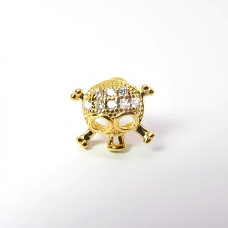 Piercing de Orelha Dourado - Caveira com Cristais - 6ORE573