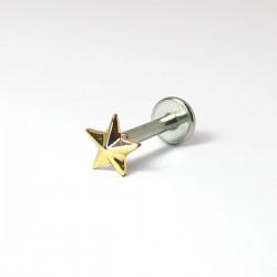 Piercing de Tragus - Labret - Pin Push - Estrela Dourada - 7TRG77
