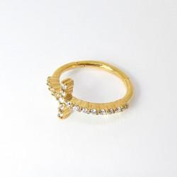 Piercing de Orelha Conch Argolinha Cruz 100% Aço - PVD Gold - 6ORE580