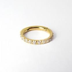 Piercing de Orelha Hélix Argolinha em Titânio PVD Gold com Cristais - 6ORE586